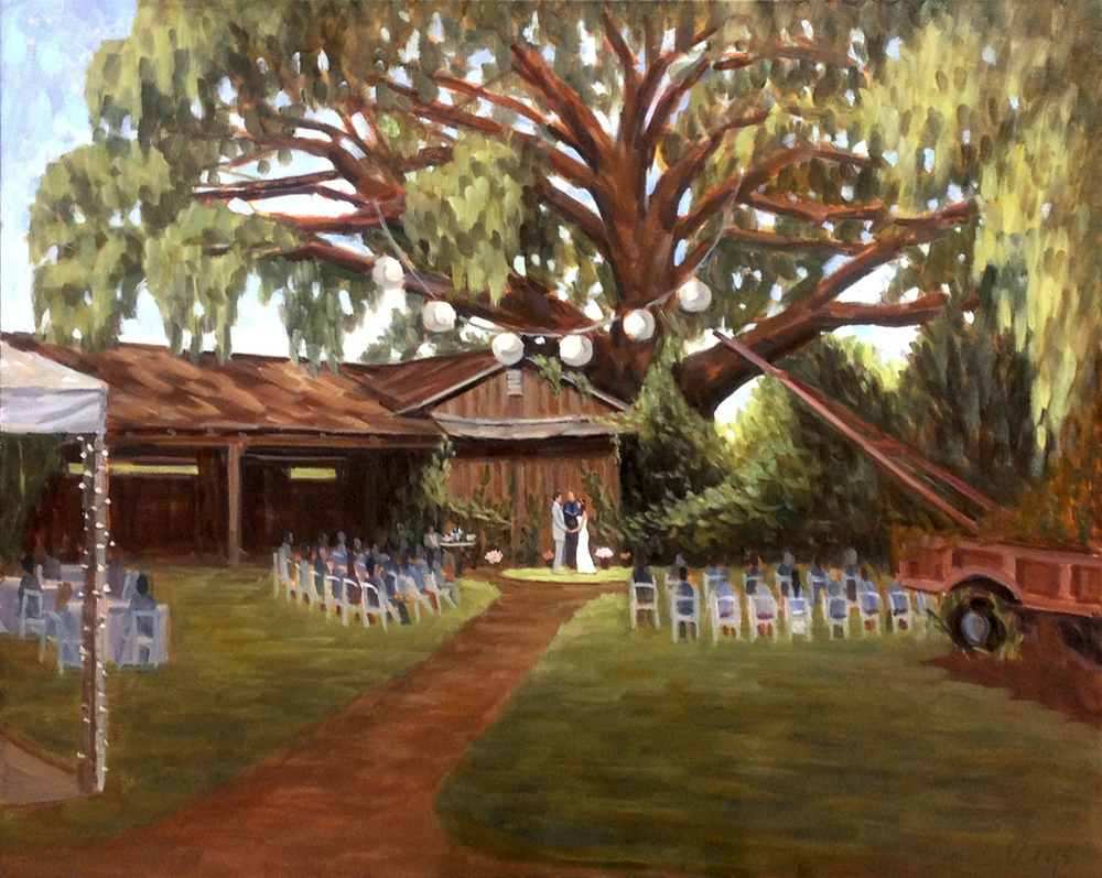 Vikki and Lee | 24 x 30 in. Live Wedding Painting | Charleston, SC