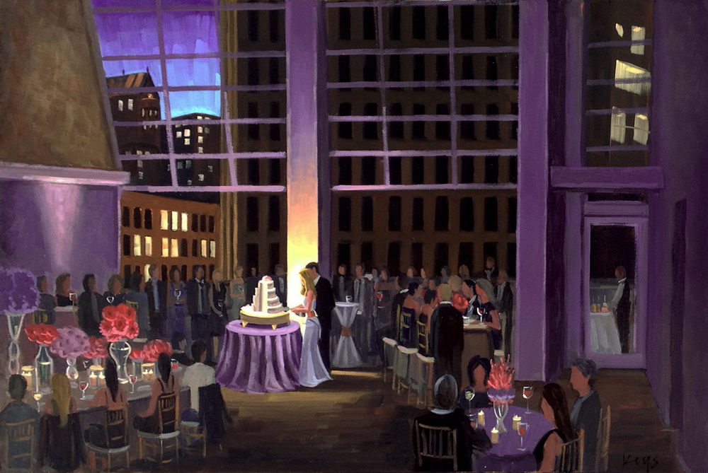 foundation-for-the-carolinas-charlotte-rooftop-wedding-painting-by-wedding-artist-ben-keys-of-wed-on-canvas