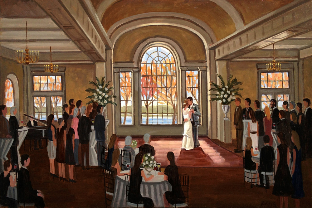 Elle and Benton | 24 x 36 in. Oil on Canvas | Live Wedding Painting | The River Room | Augusta, GA