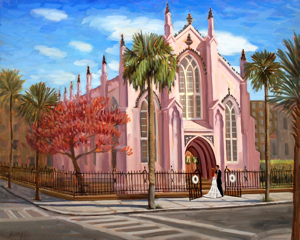 Live wedding painter, Ben Keys, captures Bride and Groom's first look outside Charleston's French Huguenot Church.