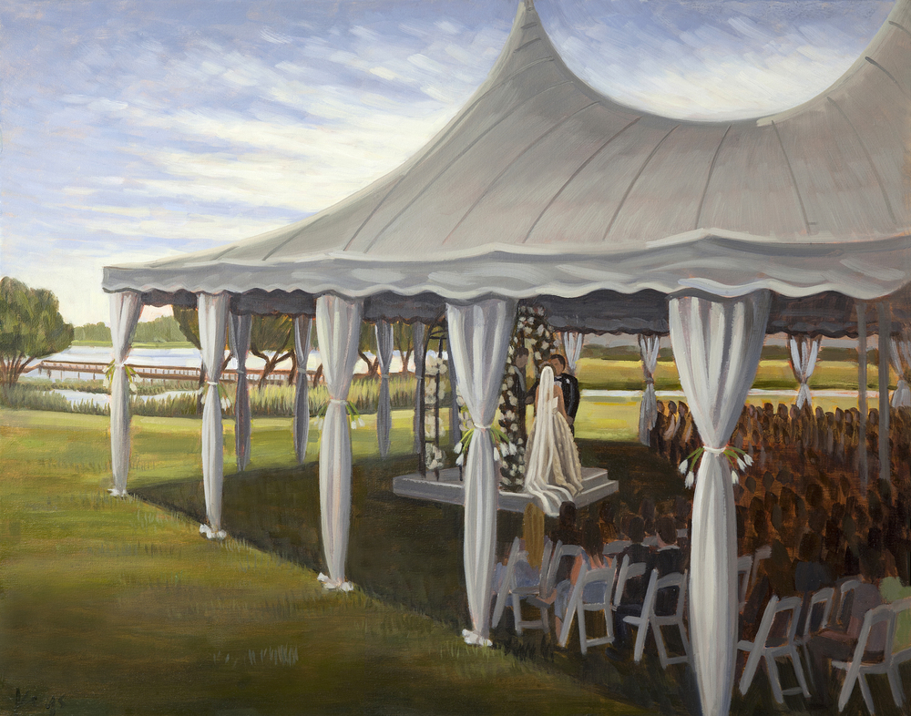 Leigh and Cameron | 24 x 30 in. Oil on Canvas | Country Club of Landfall