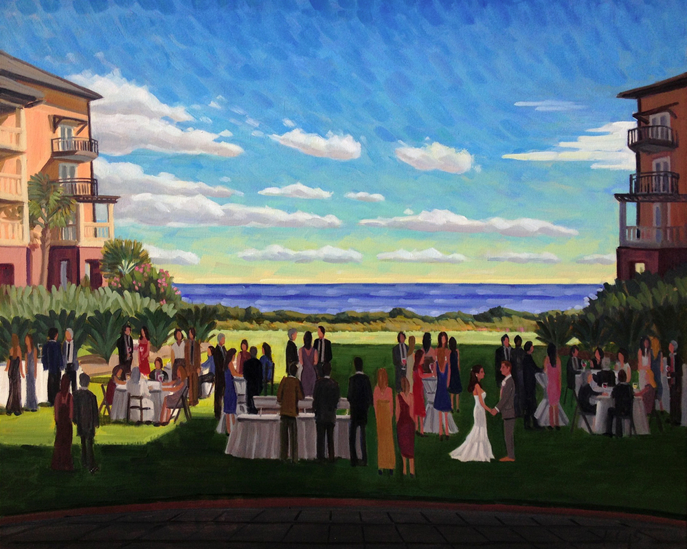Megan and Dan | 24 x 30 in. Oil on Canvas | The Grand Lawn of The Sanctuary, Kiawah Island, SC