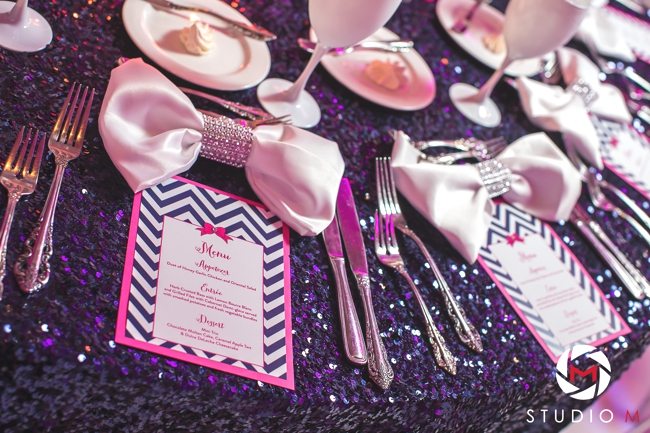 glitter-table-linens-bow-napkins-chevron-menu-white-stemware-south-florida-bat-mitzvah