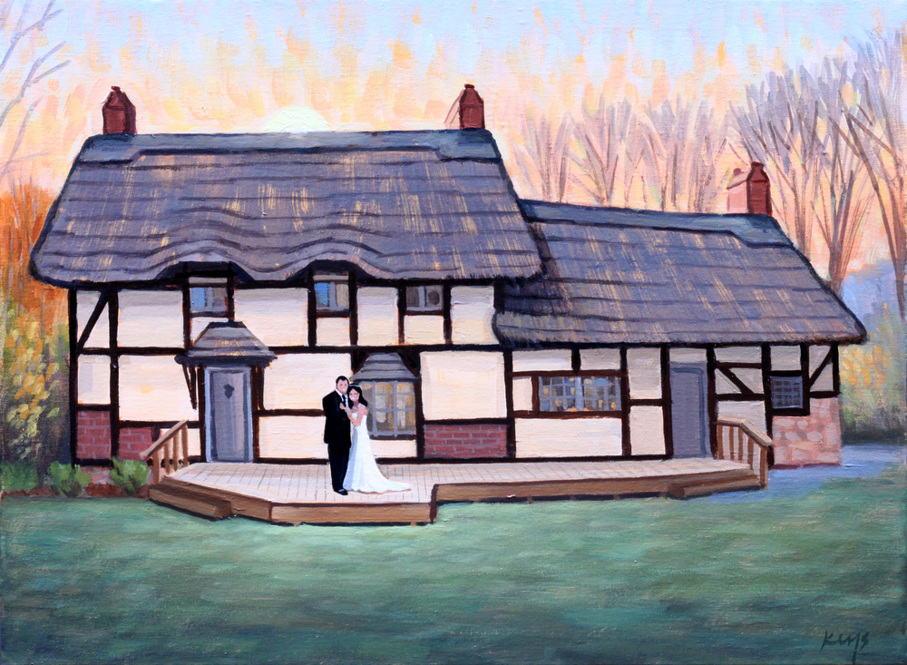 Danielle and Drew, Wedding Portrait | 12 x 16 in. Oil on Canvas | Anne Hathaway's Cottage, Staunton, VA