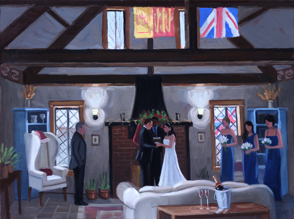 Danielle and Drew, Live Wedding Painting | 18 x 24 in. Oil on Canvas | Anne Hathaway's Cottage, Staunton, VA