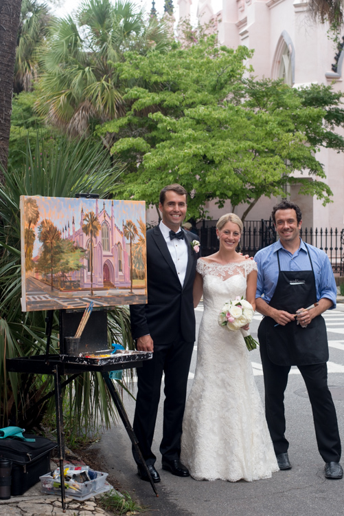 ben-keys-with-wed-on-canvas-bride-and-groom-charleston-french-church-live-wedding-painting
