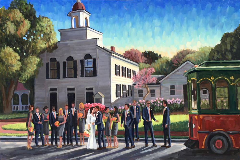 Live Wedding Painter, Ben Keys, captures Kaitlin + Brent during their NH wedding day!