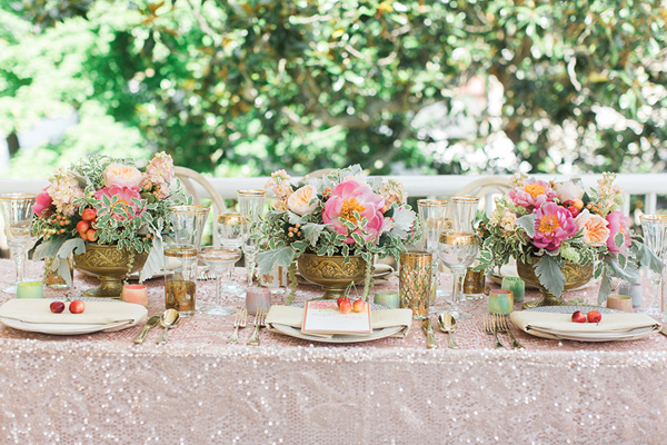blush-glitter-sparkle-table-linens-for-wedding-southern-wedding-pink-and-green