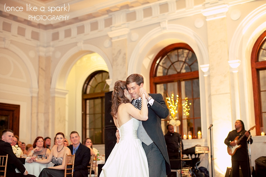 first-dance-morning-suit-for-groom-ascot-tie-ball-gown-bride-atlanta-wedding-old-courthouse-on-the-square