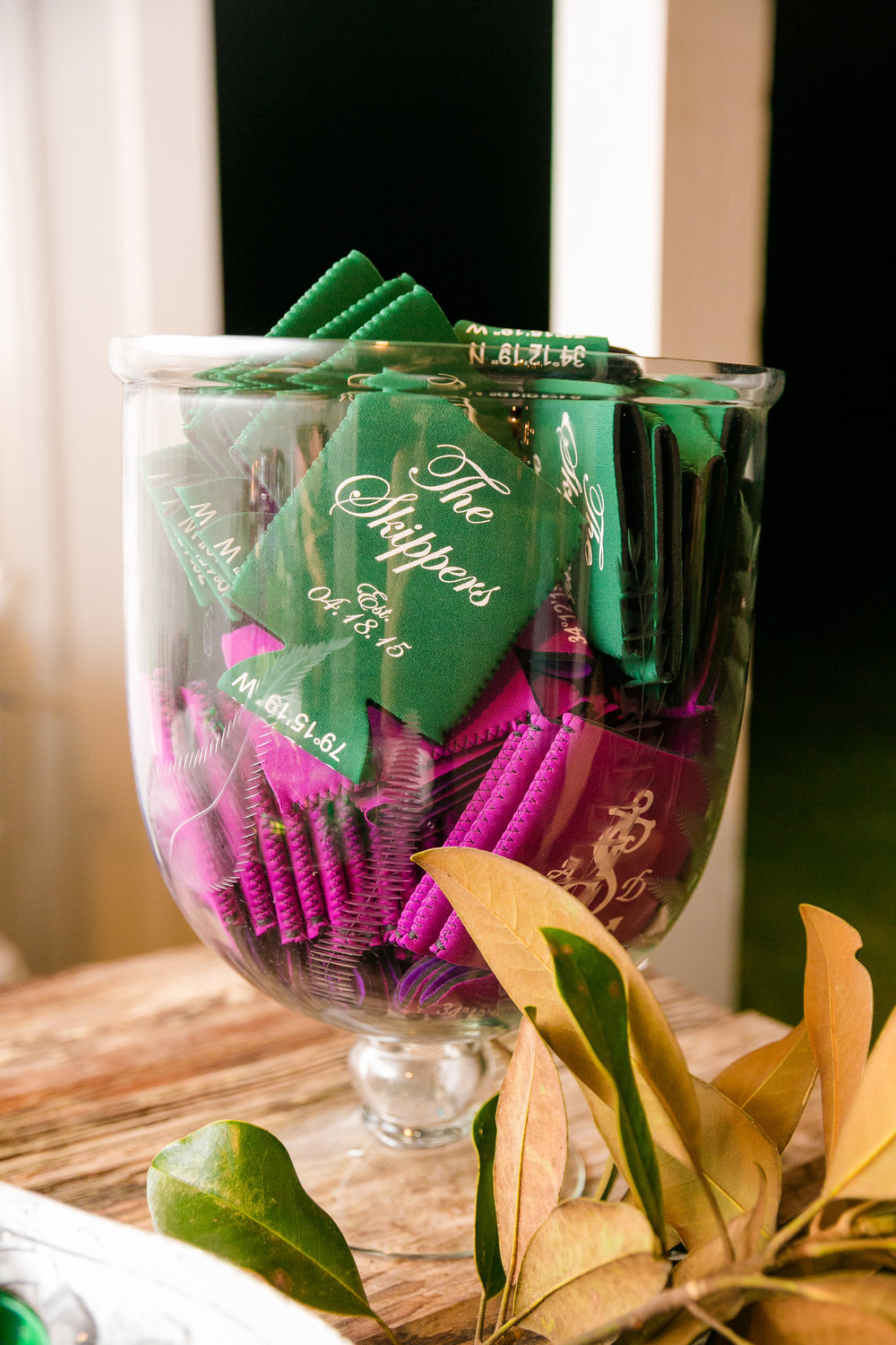 nautical-koozies-with-wedding-logo-and-longitude-latitude-guest-favors-fuchsia-and-kelly-green-wedding-colors