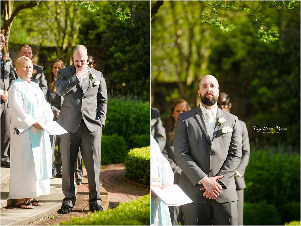 grooms-reaction-seeing-bride-for-the-first-time-priceless-tryon-palace-latham-garden-wedding-ceremony-new-bern