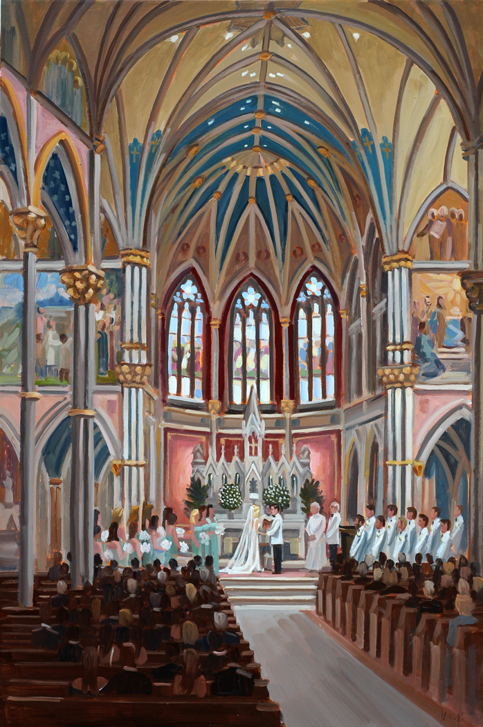 Live Wedding Painting | Cathedral of St. John the Baptist, Savannah, GA