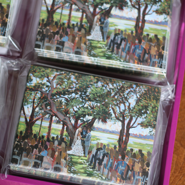 Ashley + Blake's set of custom stationery featuring their live wedding painting.