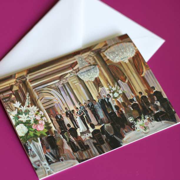 Custom Stationery featuring the newlyweds' live wedding painting | Photo by Wed on Canvas