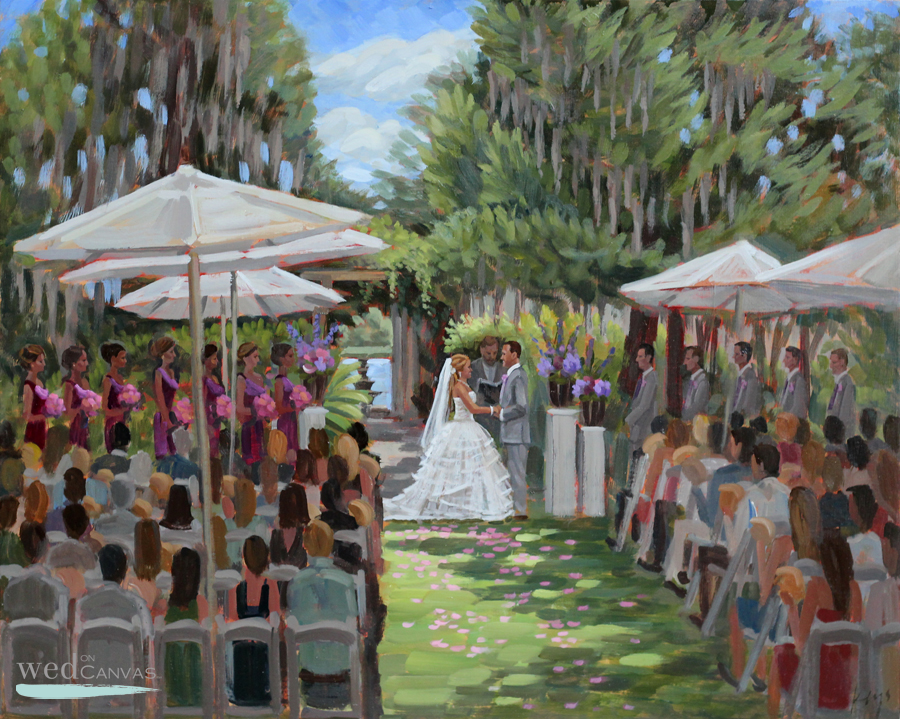 Live wedding painting at Wilmingtons enchanting Airlie Gardens