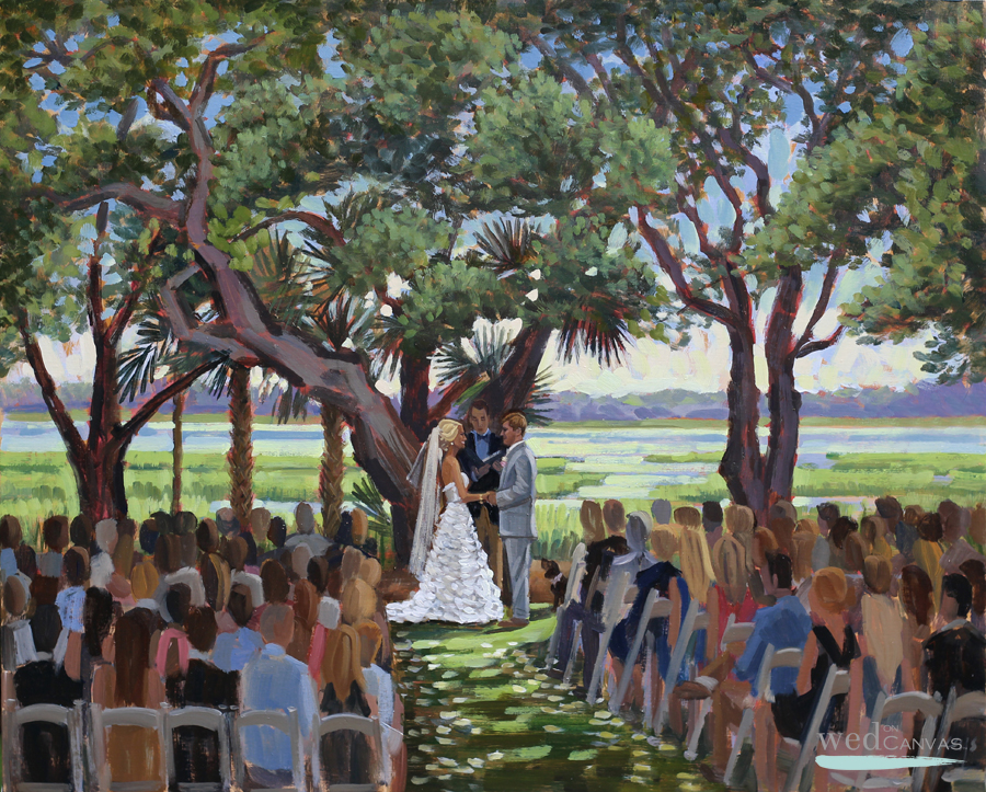 Ashley + Blake, 24 x 30 in. Live Wedding Painting at Lowndes Grove Plantation