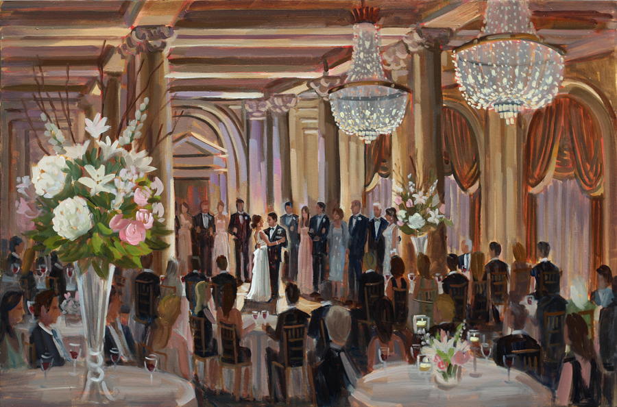 Live Wedding Painting at The Jefferson Hotel, Richmond, VA