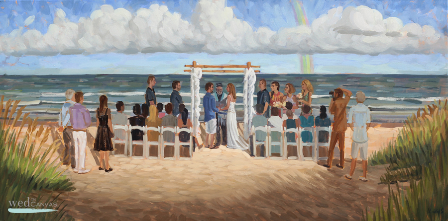 Tammy + Adam, 20 x 40 in. Oil on Canvas by live wedding painter Ben Keys