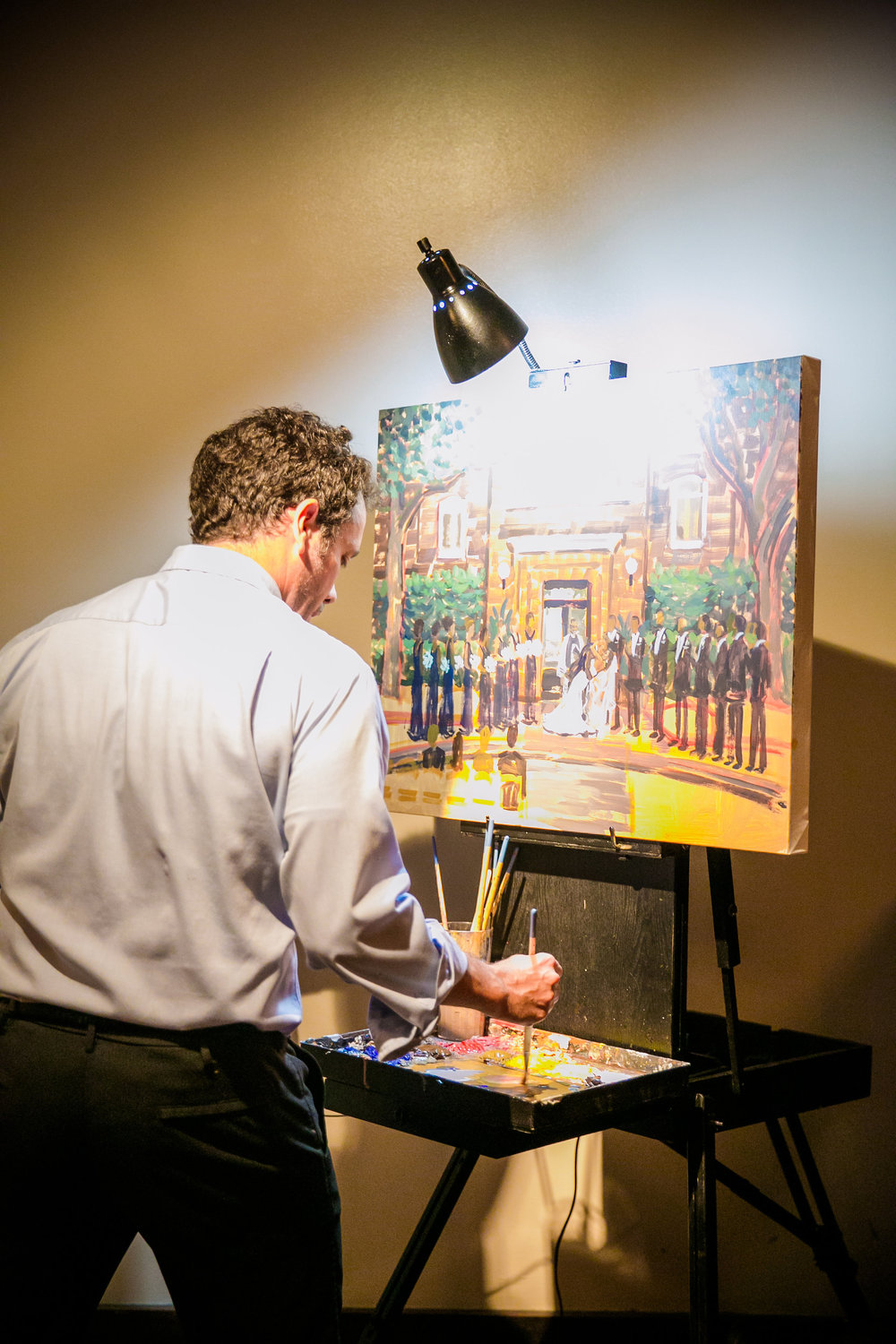 Live Wedding Painting by Ben Keys of Wed on Canvas.