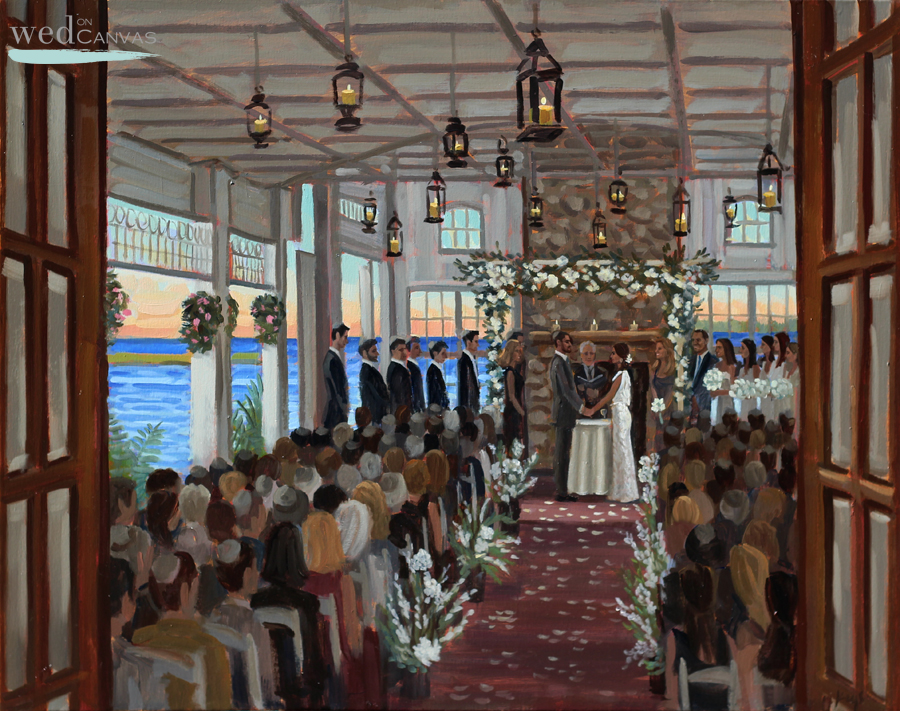 Jenny + Adam | 24 x 30 in. Oil on Canvas | Live Wedding Painting at Mallard Island Yacht Club