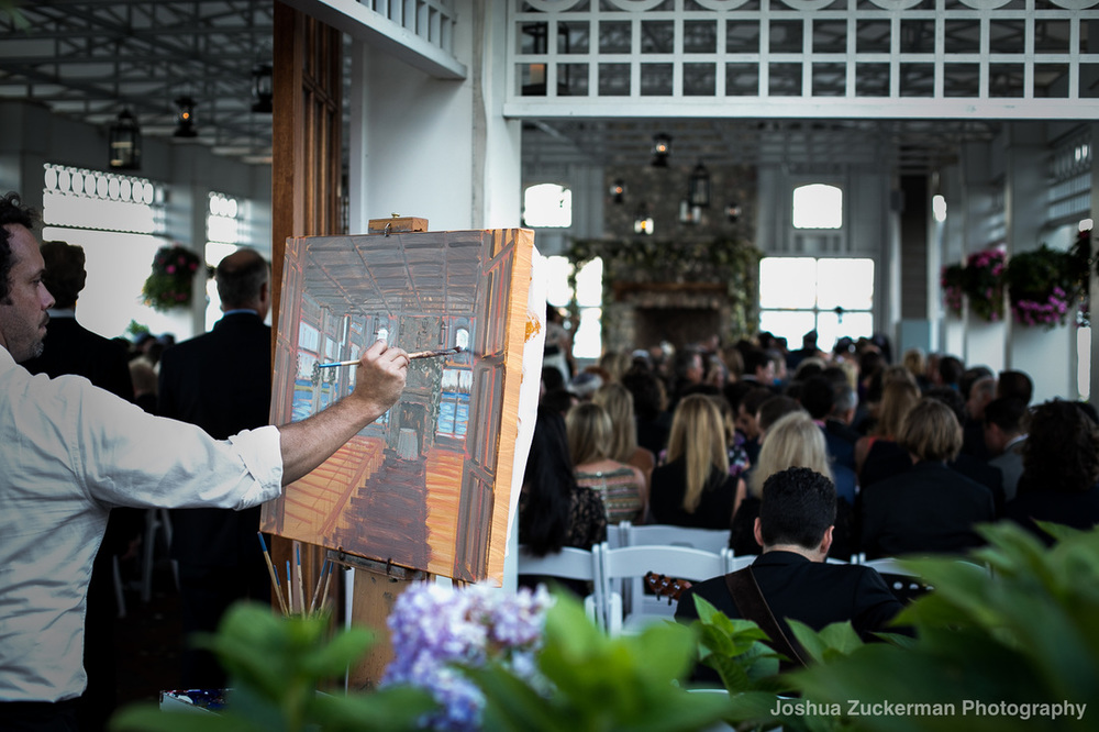 Live Wedding Painter capturing ceremony at Jersey Shore's Mallard Island Yacht Club