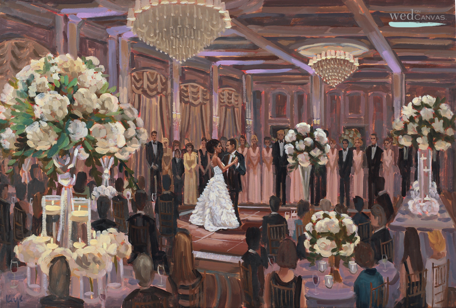Maggie and Glenn's first dance captured live by wedding artist, Ben Keys of Wed on Canvas