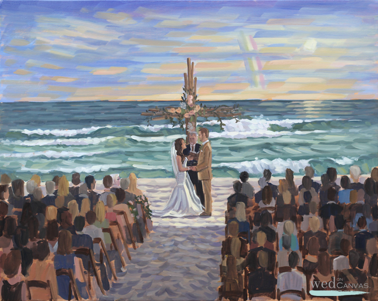 Live Wedding Painter, Ben Keys, captured Lindsay + Doug's ceremony at Alys Beach, Florida.
