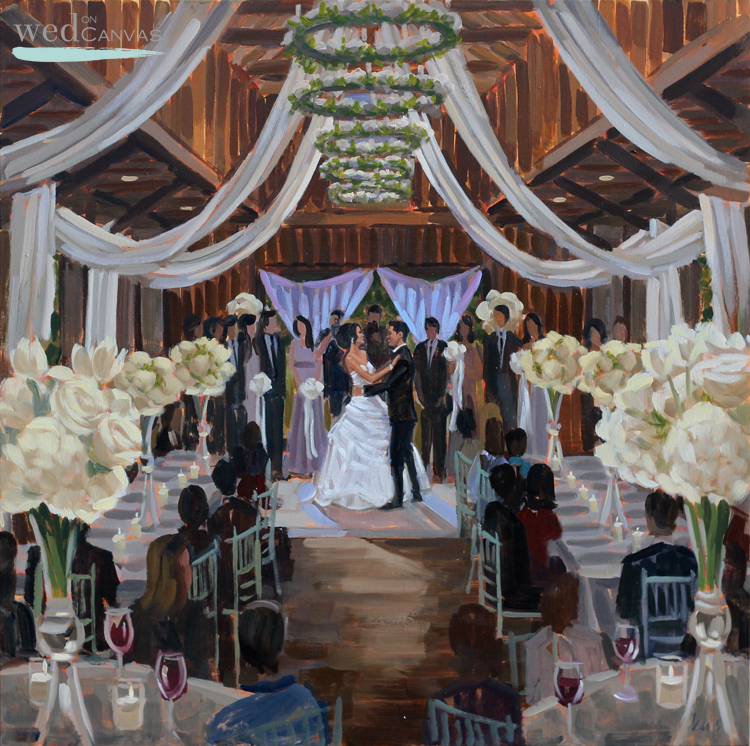 Live wedding painting at Magnolia Plantation and Gardens by Charleston artist, Ben Keys.
