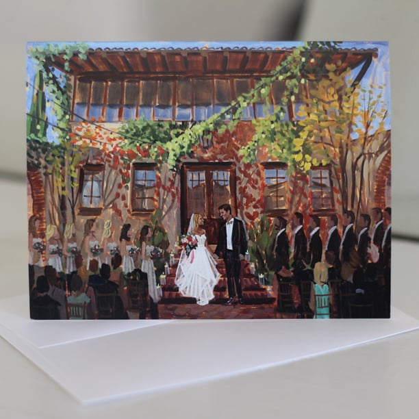 Kelsey + Eric's live wedding painting at Atlanta's Summerour studio featured on stationery.