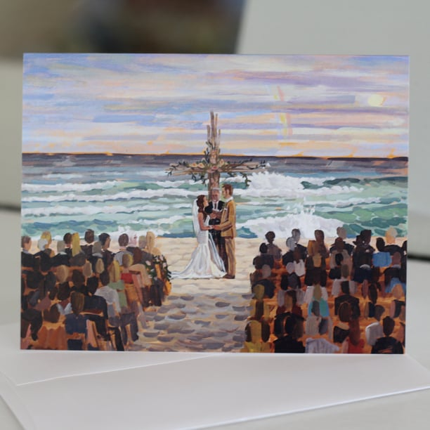 Lindsey + Doug's live wedding painting featured on a set of custom stationery.