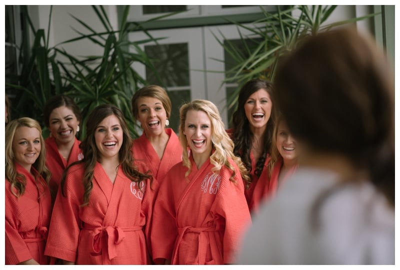 monogrammed-coral-bridesmaids-robes-for-wedding-day