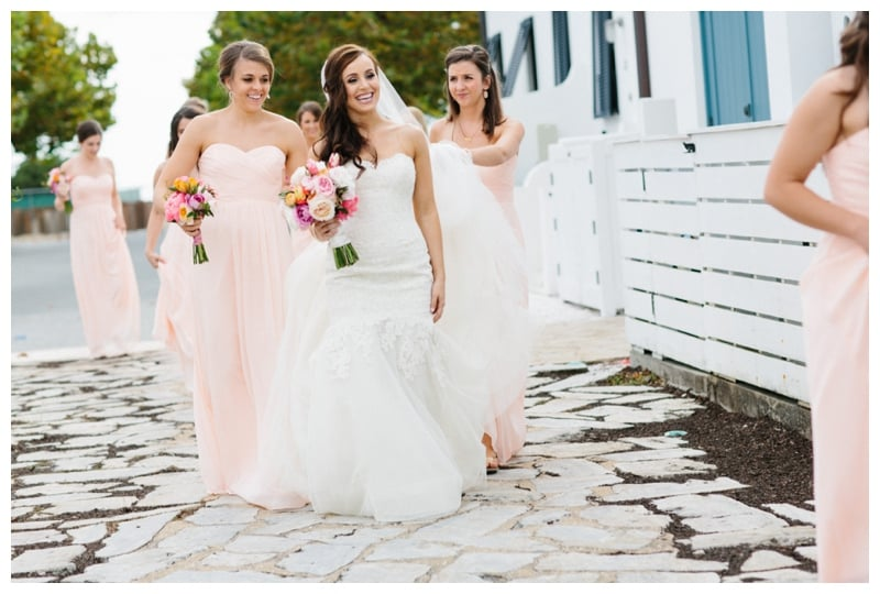 blush-bridesmaid-dress-with-colorful-bouquet
