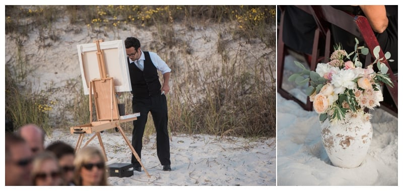 Live Wedding Painter Ben Keys capturing Lindsey + Doug's Alys Beach ceremony in Florida.