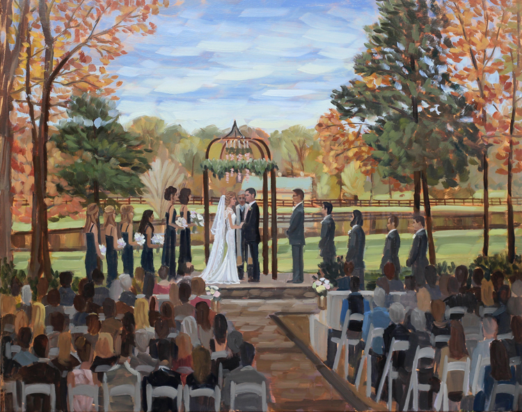 Live Wedding Painting at Morning Glory Farm in Charlotte, NC