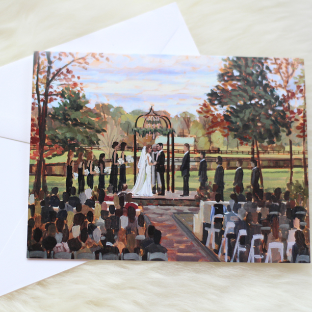 Custom wedding stationery featuring the couple's finished live painting. | Photo by Wed on Canvas.