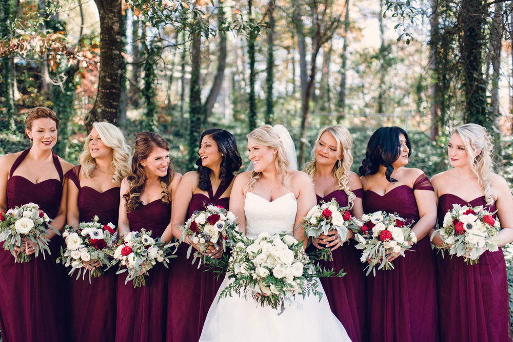 wine-berry-bridesmaids-dresses-winter-wedding