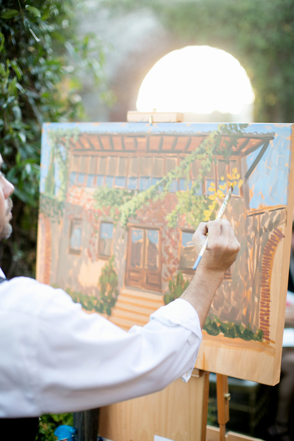 Live wedding painter, Ben Keys, capturing ceremony at Atlanta's Summerour Studio.