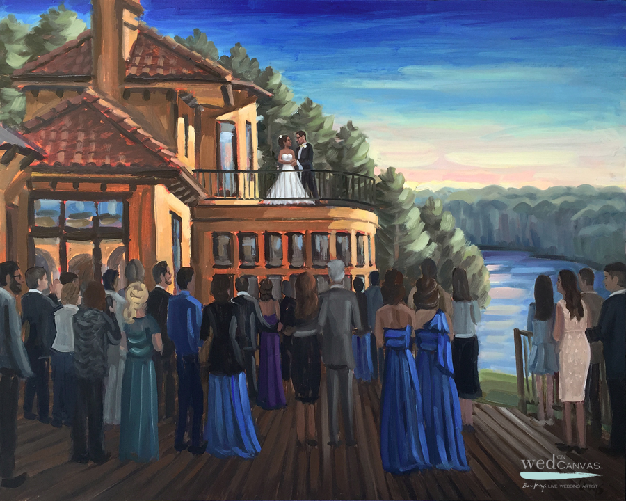 Live wedding painter, Ben Keys, captures a first dance at North Carolina's Bella Collina Mansion.