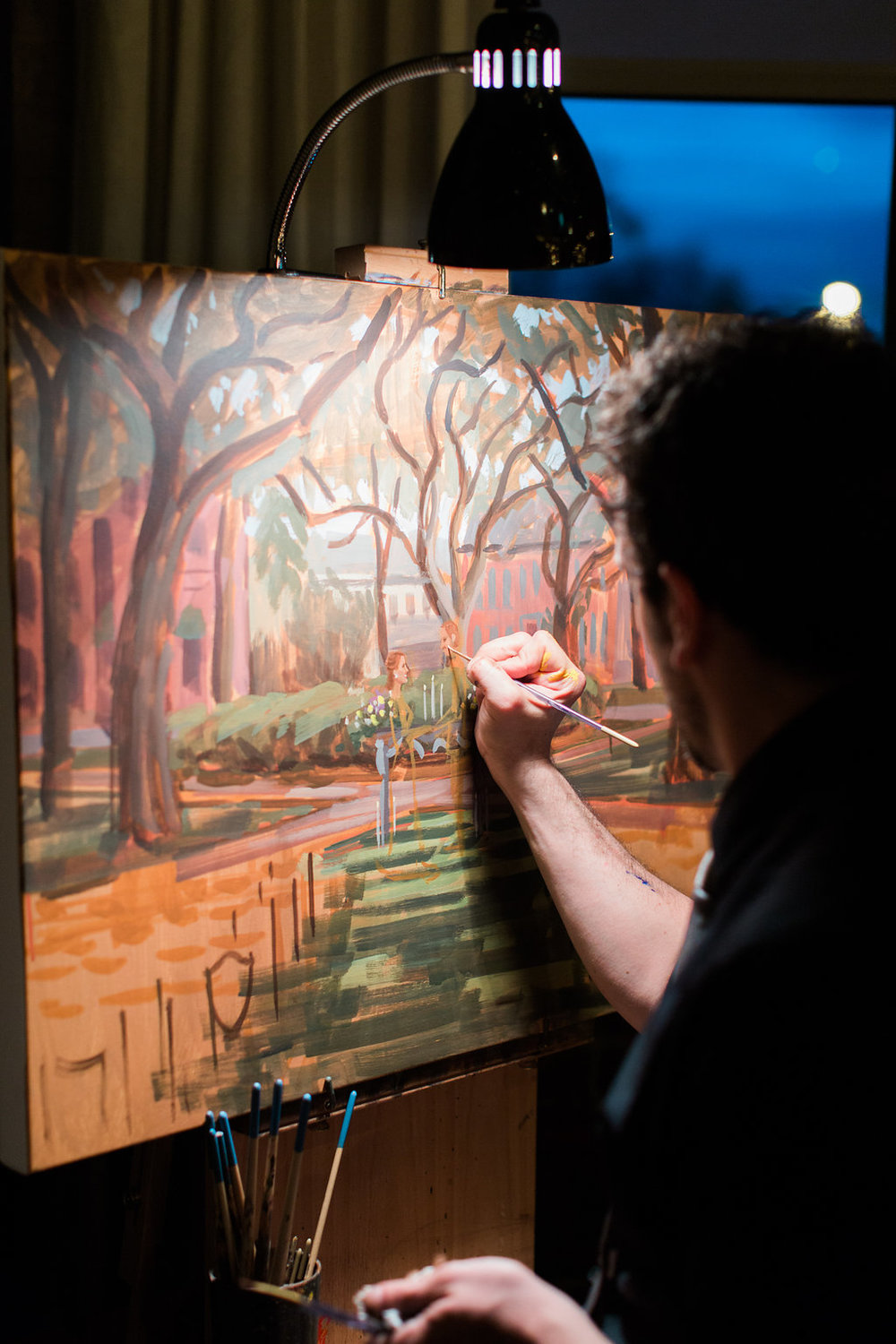Ben continued to paint J+B's Savannah ceremony painting during the reception for guests to enjoy!