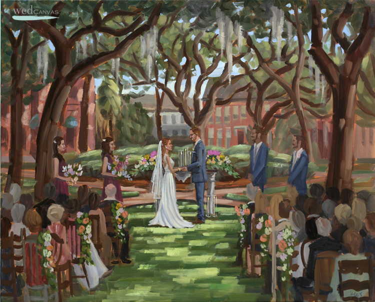 Julie + Brad's live wedding painting created during their ceremony held at Savannah's Pulaski Square.