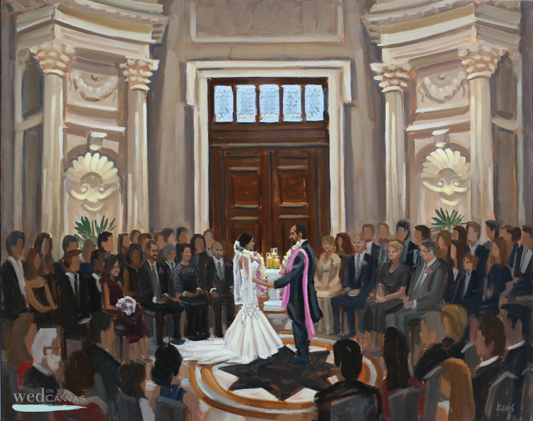 Renuka + Erik's wedding ceremony at Carnegie Institute for Science captured by live wedding painter, Ben Keys of Wed on Canvas.