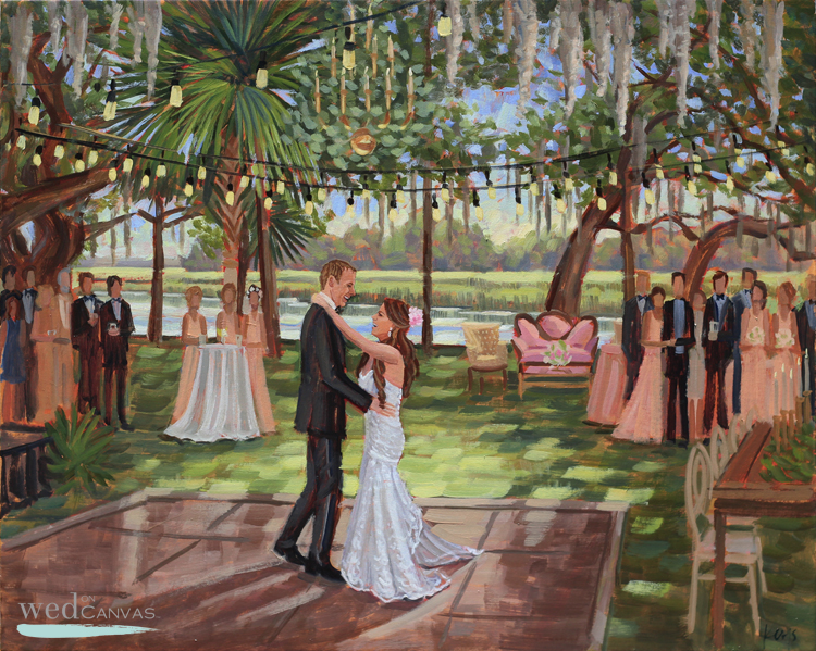 Lea + Cooper's wedding painting was created by combining photos taken from their wedding day.
