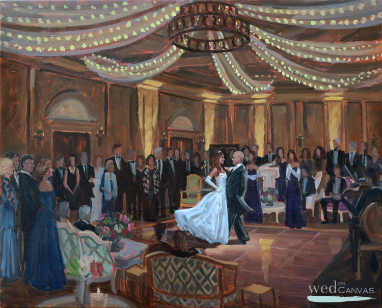 Ben captured Stephanie + John's elegant First Viennese Waltz in a live wedding painting during their reception at The Salamander Resort in Middleburg, Virginia.