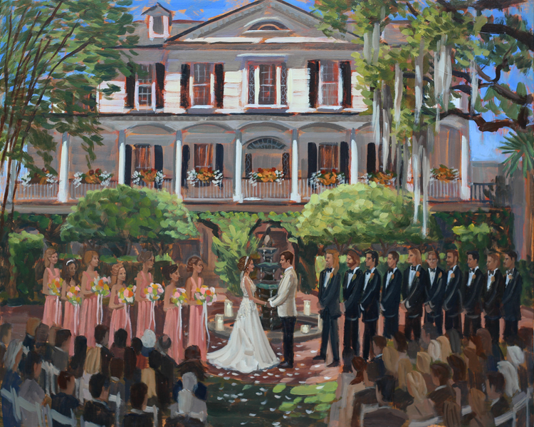 Live Wedding Painter | Thomas Bennett House, Charleston, SC