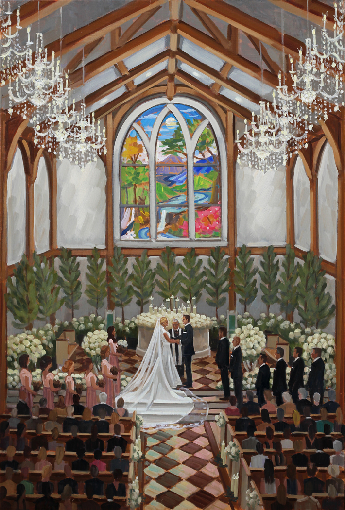 Live Wedding Artist, Ben Keys, captured Jill + Adam's gorgeous wedding day at The Greenbrier's brand new chapel.