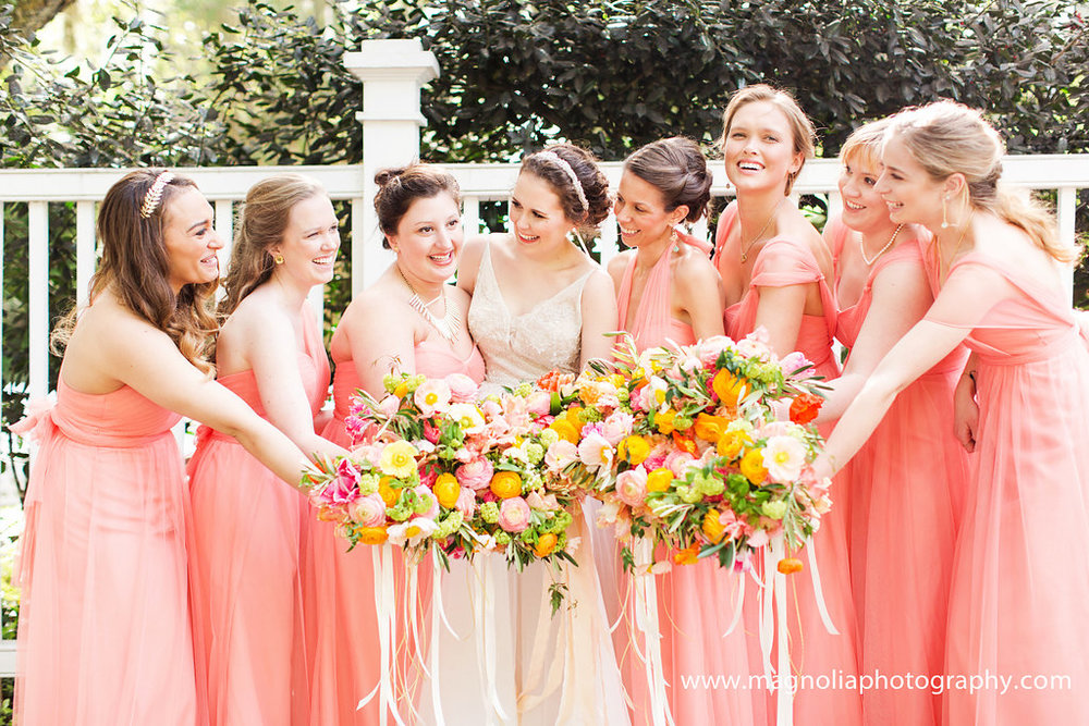 charleston-coral-bridesmaids-dresses-with-colorful-bouquets