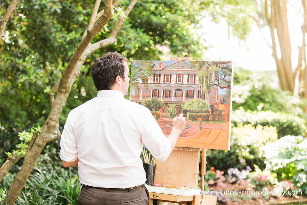 Live Wedding Painter, Ben Keys, capturing M + K's ceremony at downtown Charleston's Thomas Bennett House.