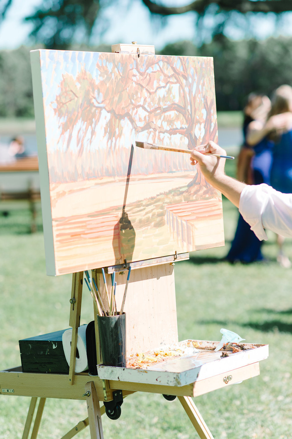 Live Wedding Painter, Ben Keys, capturing a ceremony at Charleston's Wingate Plantation.