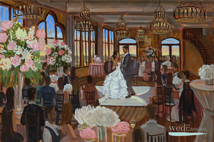 Live wedding painter, Ben Keys, captured C+M's first dance at their Colorado Springs' wedding reception.