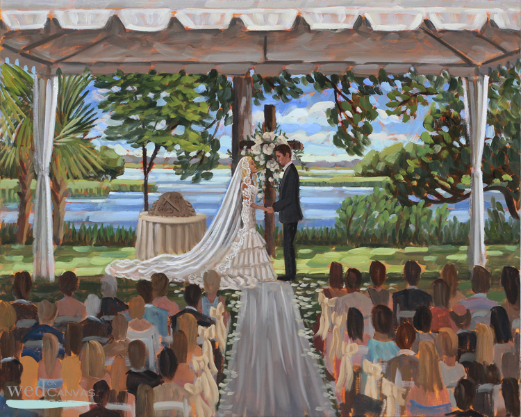 Live Wedding Painter, Ben Keys, captured S+K's ceremony at Wilmington NC's gorgeous Airlie Gardens.